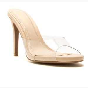 Qupid Grammy clear mules heels nude size 8